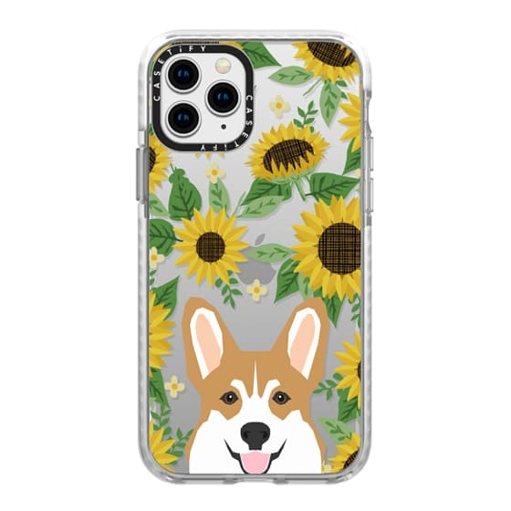 iPhone 11 Pro Cases - Corgi sunflowers floral sunflower pattern cell phone clear case transparent pet friendly gifts