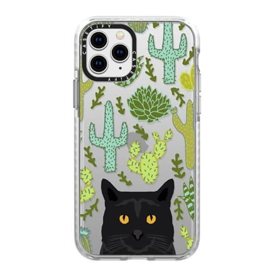 iPhone 11 Pro Cases - Black Cat cute cat lady gift with cactus succulents nature pattern southwest pet gifts