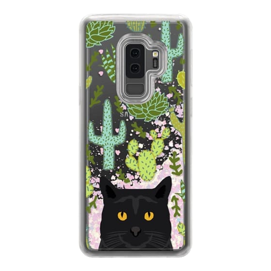 Samsung Galaxy S9 Plus Cases - Black Cat cute cat lady gift with cactus succulents nature pattern southwest pet gifts