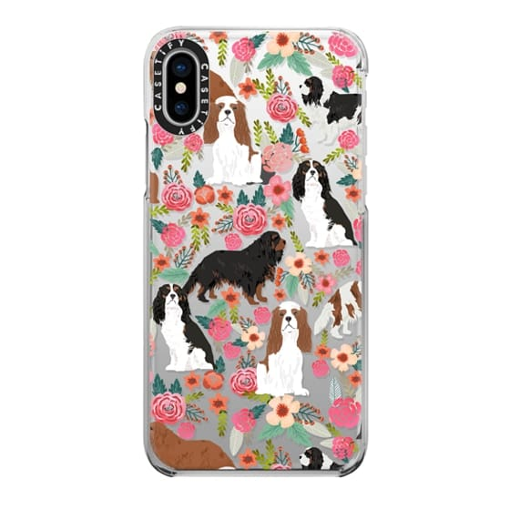 iPhone X Cases - Cavalier King Charles Spaniel florals cell phone case for dog person unique dog breed custom gifts by pet friendly