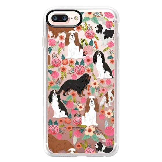 iPhone 7 Plus Cases - Cavalier King Charles Spaniel florals cell phone case for dog person unique dog breed custom gifts by pet friendly