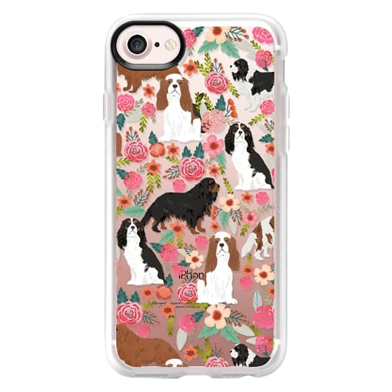 iPhone 7 Cases - Cavalier King Charles Spaniel florals cell phone case for dog person unique dog breed custom gifts by pet friendly