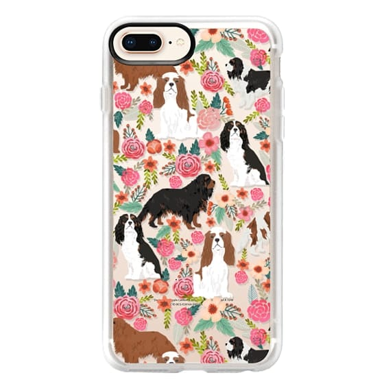 iPhone 8 Plus Cases - Cavalier King Charles Spaniel florals cell phone case for dog person unique dog breed custom gifts by pet friendly