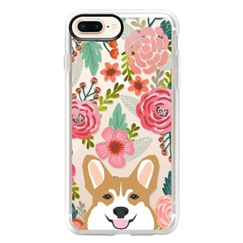 Grip iPhone 8 Plus Case - Corgi in the flowers cute spring corgi dog cell phone case for corgi owners