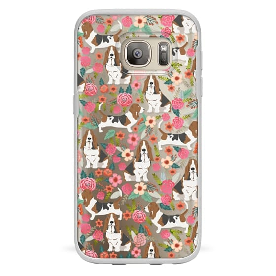 Samsung Galaxy S7 Cases - Basset Hound floral cute pastel cell phone case for dog person basset hound owner must haves