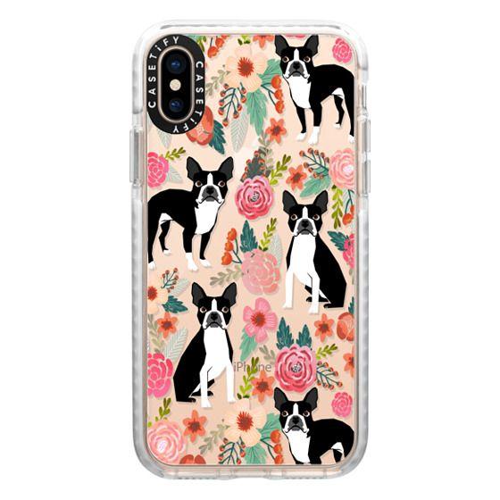 iPhone XS Cases - Boston Terriers Flowers cute boston terrier florals vintage flowers trendy cell phone case for boston terrier owners