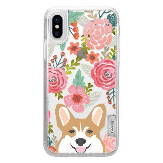 Corgi in the flowers cute spring corgi dog cell phone case for corgi owners