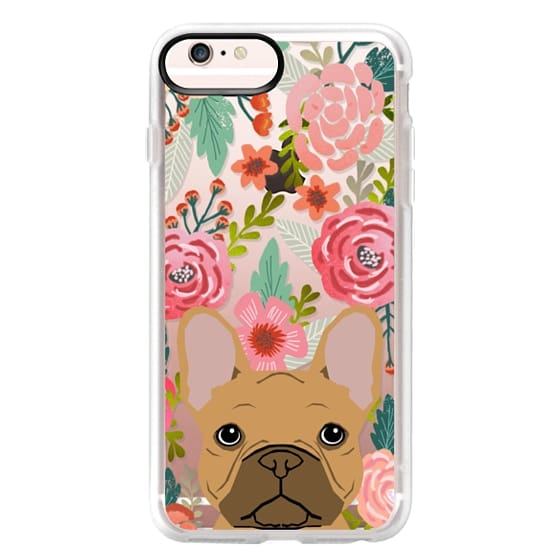 iPhone 6s Plus Cases - French Bulldog tan cute pet portrait florals spring summer flowers transparent cell phone case