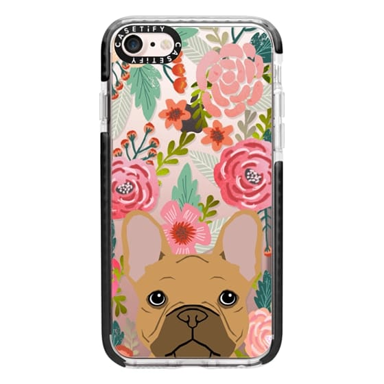iPhone 7 Cases - French Bulldog tan cute pet portrait florals spring summer flowers transparent cell phone case