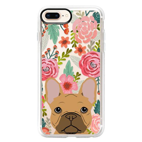 iPhone 8 Plus Cases - French Bulldog tan cute pet portrait florals spring summer flowers transparent cell phone case