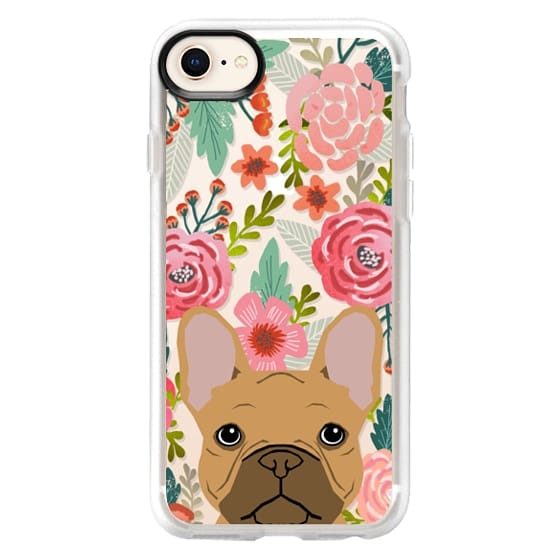 iPhone 8 Cases - French Bulldog tan cute pet portrait florals spring summer flowers transparent cell phone case