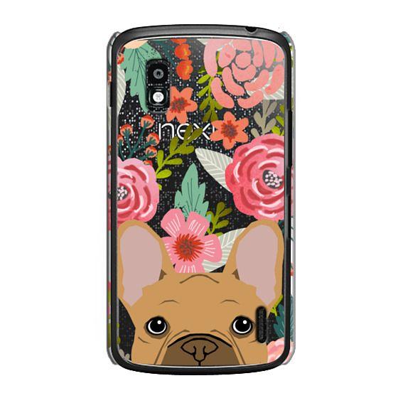 Nexus 4 Cases - French Bulldog tan cute pet portrait florals spring summer flowers transparent cell phone case