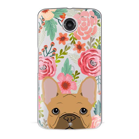 Nexus 6 Cases - French Bulldog tan cute pet portrait florals spring summer flowers transparent cell phone case