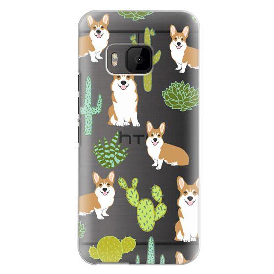 Htc One M9 Cases - Corgi welsh corgi cute cacti succulents nature pattern iphone6 transparent cell phone case dog portrait pet art