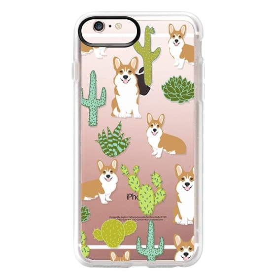 iPhone 6s Plus Cases - Corgi welsh corgi cute cacti succulents nature pattern iphone6 transparent cell phone case dog portrait pet art