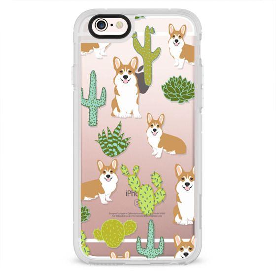 iPhone 4 Cases - Corgi welsh corgi cute cacti succulents nature pattern iphone6 transparent cell phone case dog portrait pet art