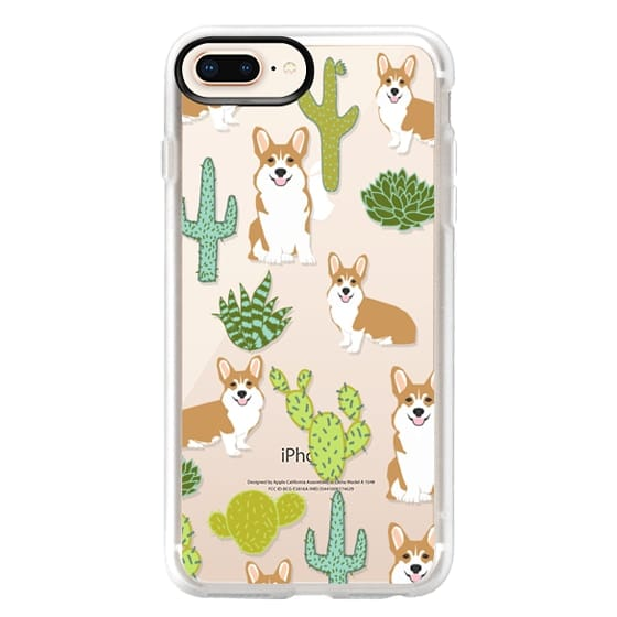 iPhone 8 Plus Cases - Corgi welsh corgi cute cacti succulents nature pattern iphone6 transparent cell phone case dog portrait pet art