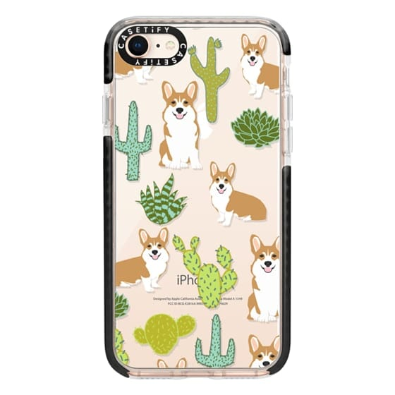 iPhone 8 Cases - Corgi welsh corgi cute cacti succulents nature pattern iphone6 transparent cell phone case dog portrait pet art