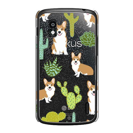 Nexus 4 Cases - Corgi welsh corgi cute cacti succulents nature pattern iphone6 transparent cell phone case dog portrait pet art