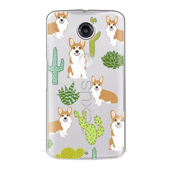 Nexus 6 Cases - Corgi welsh corgi cute cacti succulents nature pattern iphone6 transparent cell phone case dog portrait pet art