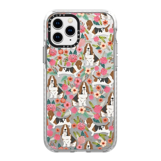 iPhone 11 Pro Cases - Basset Hound floral cute pastel cell phone case for dog person basset hound owner must haves