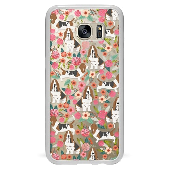Samsung Galaxy S7 Edge Cases - Basset Hound floral cute pastel cell phone case for dog person basset hound owner must haves