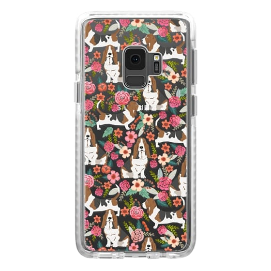 Samsung Galaxy S9 Cases - Basset Hound floral cute pastel cell phone case for dog person basset hound owner must haves