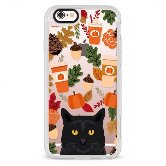 black cat must have gifts for fall autumn pumpkin spiced latte coffee cell phone case