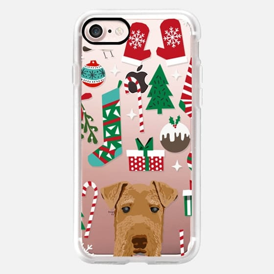 airedale terrier christmas pudding stocking candy cane xmas presents cell phone case -