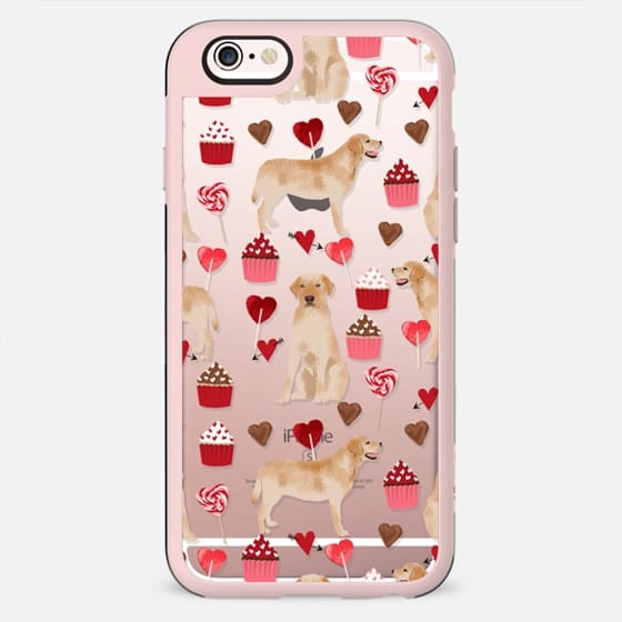 Yellow Lab valentines day love cupcakes and hearts clear transparent phone case by pet friendly labrador retriever - New Standard Case
