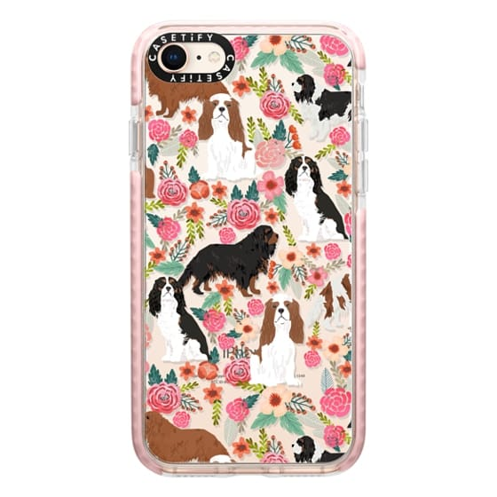 iPhone 8 Cases - Cavalier King Charles Spaniel florals cell phone case for dog person unique dog breed custom gifts by pet friendly