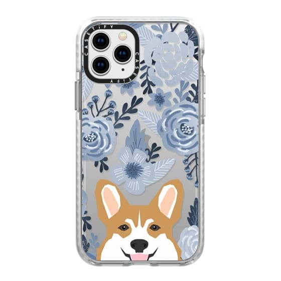 iPhone 11 Pro Cases - Cute Corgi Florals - blue style cute flowers painted flowers clear phone case for corgi owners