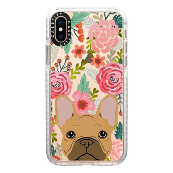iPhone XS Cases - French Bulldog tan cute pet portrait florals spring summer flowers transparent cell phone case