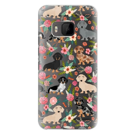 Htc One M9 Cases - Dachshunds mixed coat colors dog breed pet portrait clear cases for dog lovers custom dog breed gifts by pet friendly