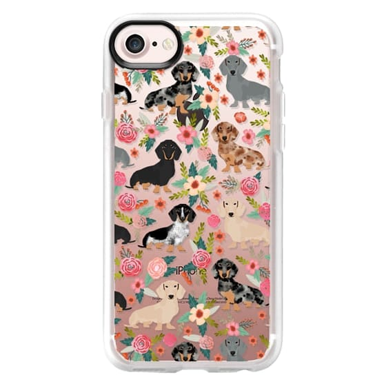 iPhone 7 Cases - Dachshunds mixed coat colors dog breed pet portrait clear cases for dog lovers custom dog breed gifts by pet friendly