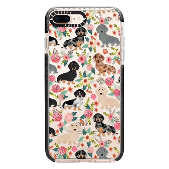 iPhone 8 Plus Cases - Dachshunds mixed coat colors dog breed pet portrait clear cases for dog lovers custom dog breed gifts by pet friendly
