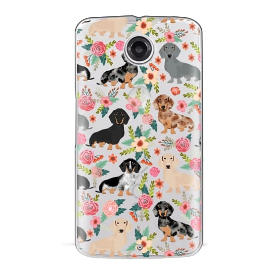 Nexus 6 Cases - Dachshunds mixed coat colors dog breed pet portrait clear cases for dog lovers custom dog breed gifts by pet friendly