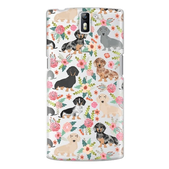 One Plus One Cases - Dachshunds mixed coat colors dog breed pet portrait clear cases for dog lovers custom dog breed gifts by pet friendly