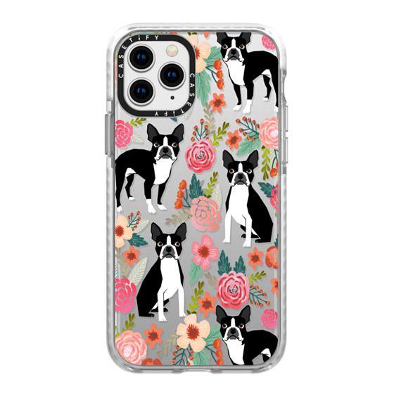 iPhone 11 Pro Cases - Boston Terriers Flowers cute boston terrier florals vintage flowers trendy cell phone case for boston terrier owners