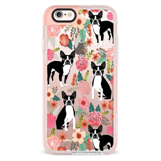iPhone 6s Cases - Boston Terriers Flowers cute boston terrier florals vintage flowers trendy cell phone case for boston terrier owners