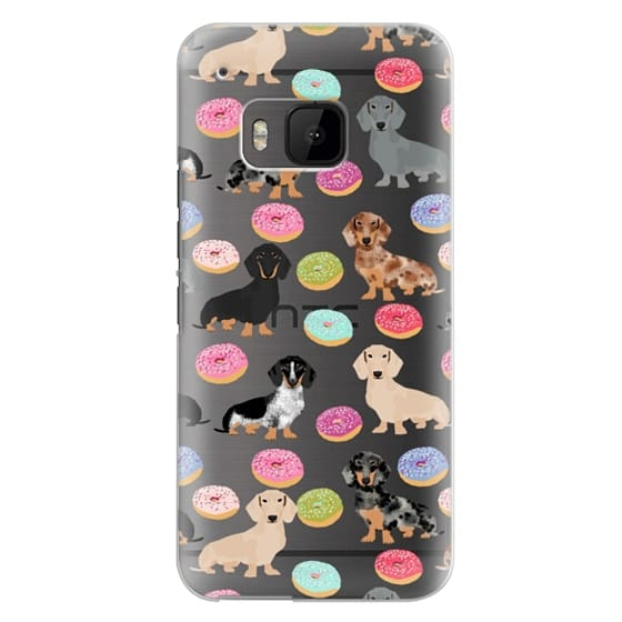 Htc One M9 Cases - Dachshund donuts cute funny clear case for doxie owners must have gifts tech accessories for dog person