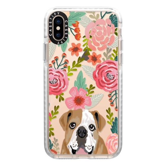 iPhone XS Cases - english bulldog floral pattern cute transparent cell phone case iphone6 tech cases with bulldog