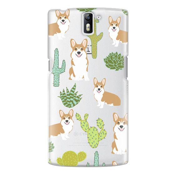 One Plus One Cases - Corgi welsh corgi cute cacti succulents nature pattern iphone6 transparent cell phone case dog portrait pet art