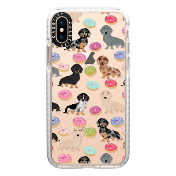 iPhone XS Cases - Dachshund donuts cute funny clear case for doxie owners must have gifts tech accessories for dog person