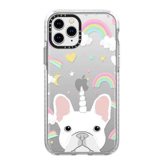 iPhone 11 Pro Cases - French Bulldog white coat frenchie unicorn and rainbows clear case transparent cell phone dog pet friendly gifts