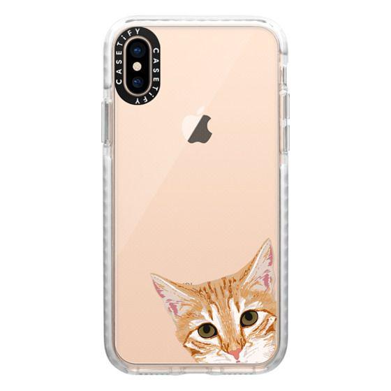 iPhone XS Cases - Peeking Cat - transparent funny meme cat face for cat lady cat people cases