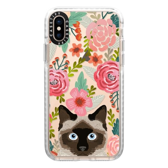 iPhone XS Cases - Siamese Cat Florals - spring time cute flowers cats painted watercolor floral clear phone case for cat ladies and trendy girls