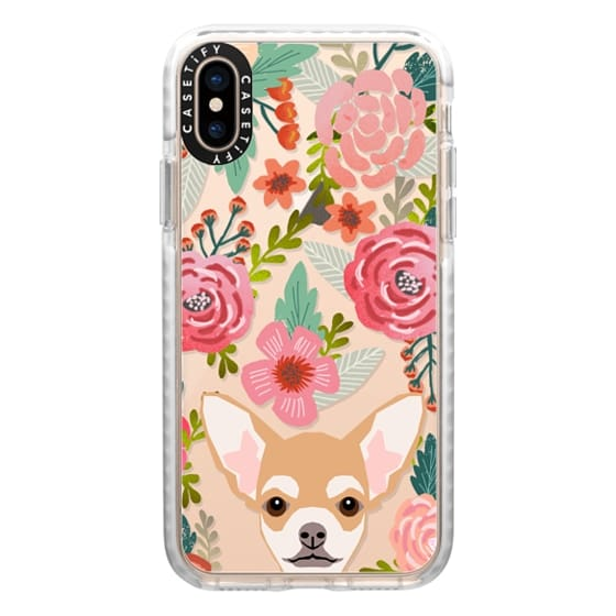 iPhone XS Cases - Chihuahua florals flower blooms boho girly hipster transparent cell phone iphone6 cases pet friendly tech accessories