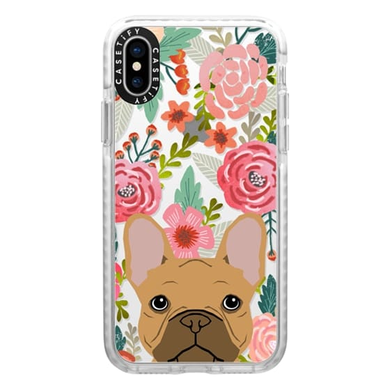 iPhone X Cases - French Bulldog tan cute pet portrait florals spring summer flowers transparent cell phone case