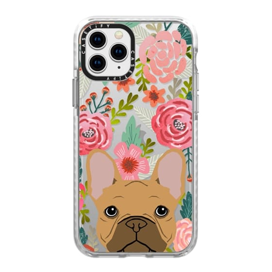 iPhone 11 Pro Cases - French Bulldog tan cute pet portrait florals spring summer flowers transparent cell phone case